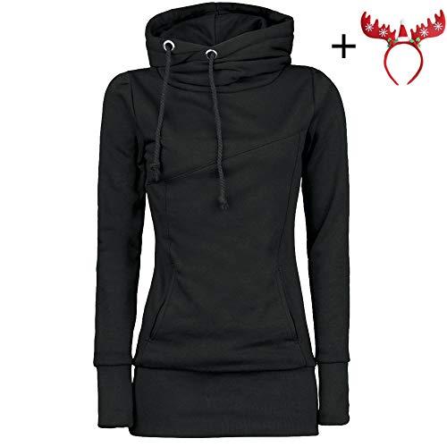 0a8afc580b60c5 Hoodie Sweatshirt Dasongff Damen Frauen Kapuzenpullover mit Hohem Kragen  Feste Sweatshirt Pullover Tops Slim Fit PulloverKleid